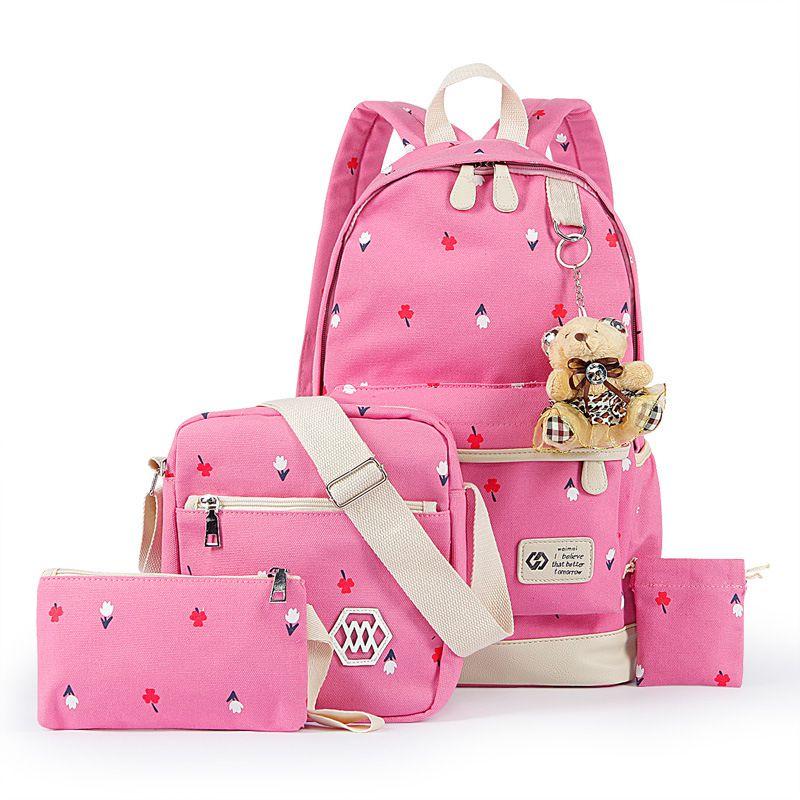 bca95e5a7d Canvas Printed Shoulder Bag Female Korean Fashion School Wind Junior High  School Students Designer Backpack Leisure Travel Bag UK 2019 From  Mychoices