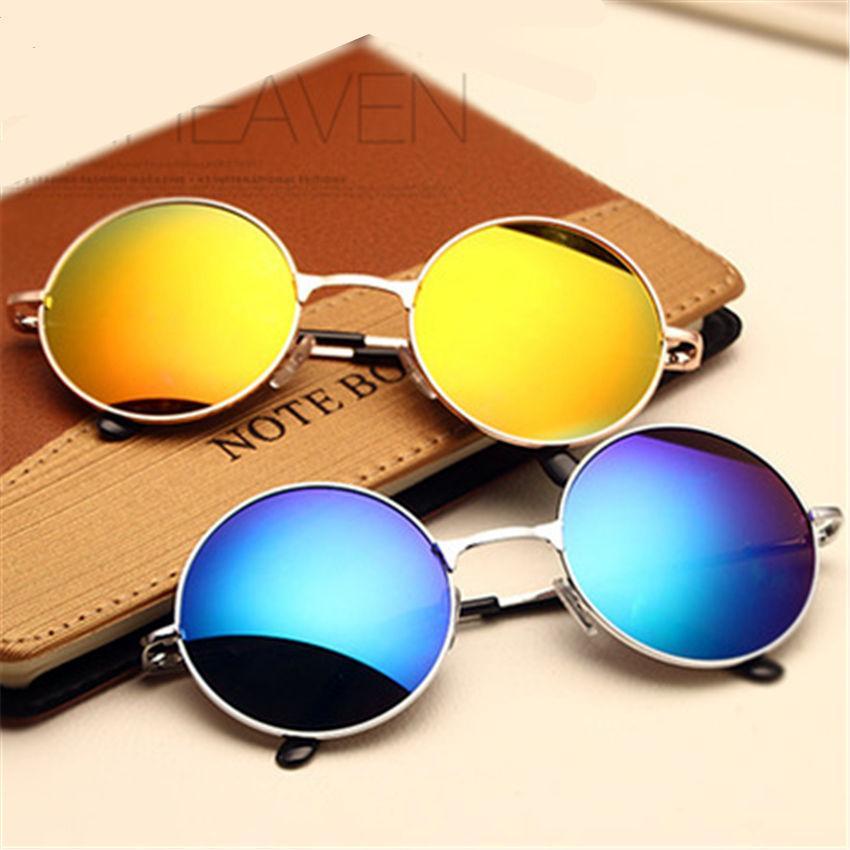 Sunglasses Or Hommes Femmes Cercle Soleil De Vintage Gros Féminines Lunettes Rondes Mâle Belle 5L3ARj4
