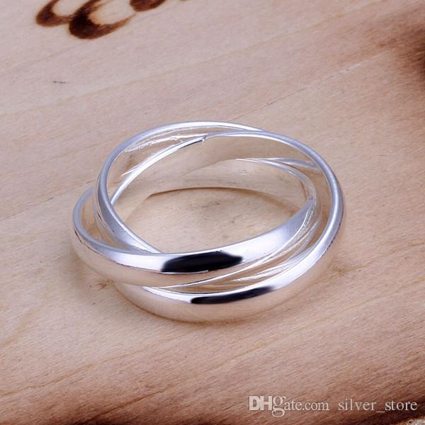 brand new Three laps sterling silver jewelry ring SR167, brand new 925 silver finger rings Band Rings