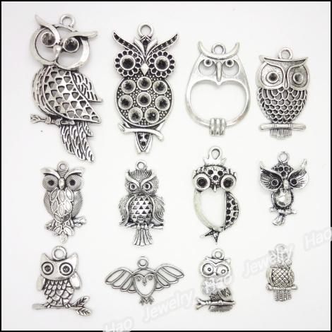 Mixed 48 pcs Vintage Charms Owl Pendentif Antique argent Fit Bracelets Collier DIY Métal Fabrication de Bijoux
