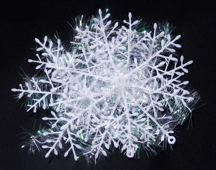 /pack white Christmas decor snowflake decorations for Christmas tree snow string New Year decoration Ornaments Xmas supplies