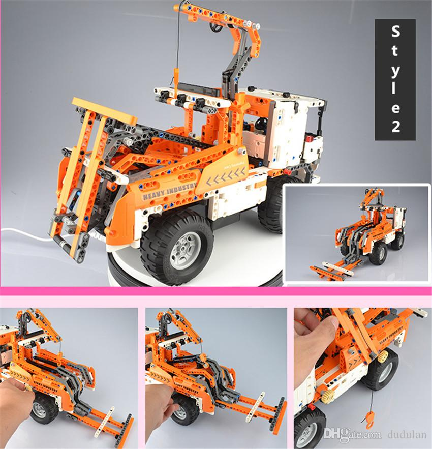 Bululu Heavy industry RC Car Building Blocks Charging Remote Control Mixer Crane Car Toys for Boys Kids Educational Assembly Toy Gift Bricks