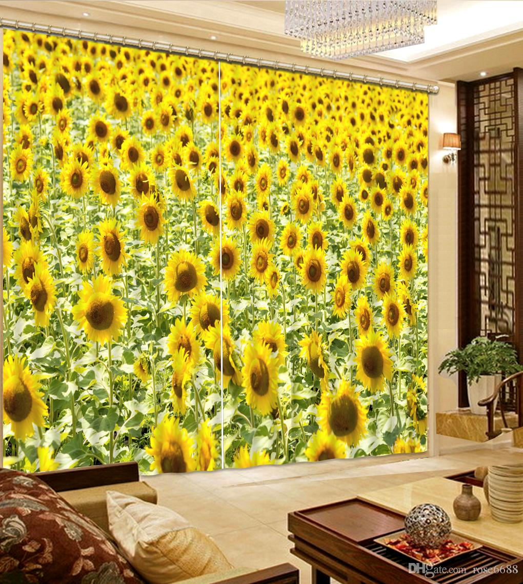 2017 Photo Any Size Curtains For Window Yellow Sun Flower Fashion Decor Home Decoration Bedroom Living Room Curtain From Rose6688 1994