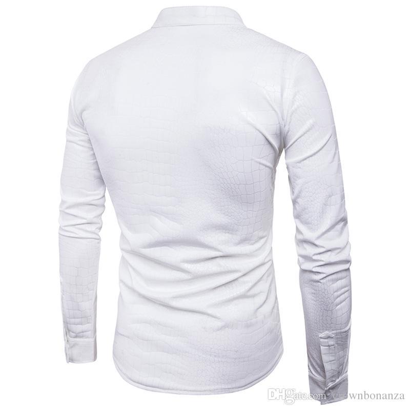 Night Club Wear Men/'s Elastic Shirts Slim Fit Fashion Metallic Shiny Shirt Mens