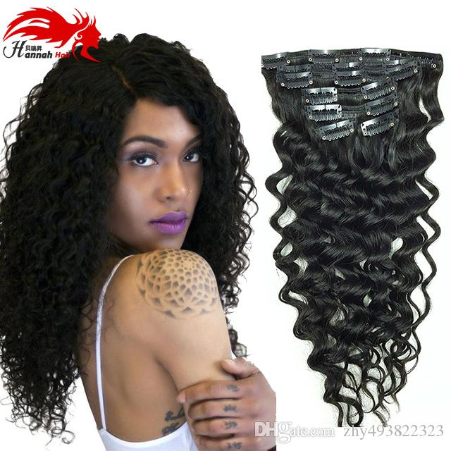 Clip In Human Hair Extensions Brazilian Deep Curly Clip In Hair