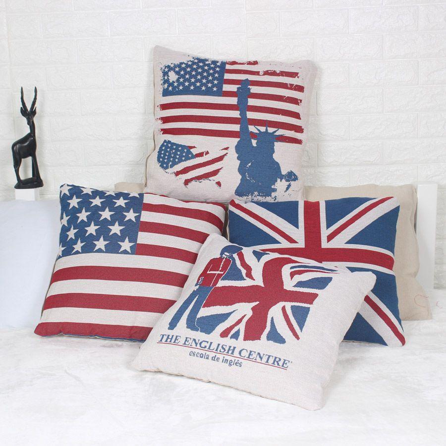 49aa706eab9 UK USA Flag 45x45cm Pillowcase American British London Pillow Case Cover  Home Decor Linen Cotton Throw Cushion Cover For Sofa Chair Bedding Wicker  Patio ...