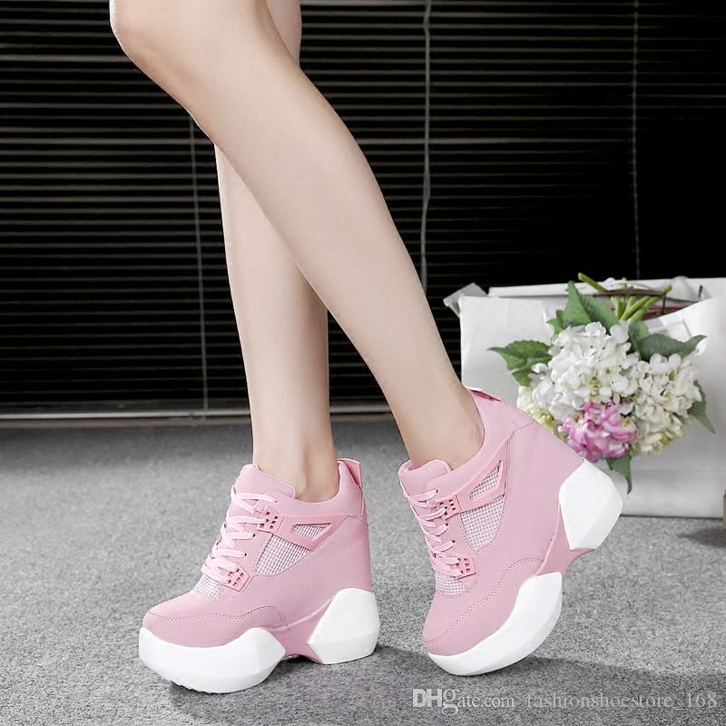 e97bb0fb63aa Women Hidden Wedge Ultra High Heels 12cm Women S Elevator Shoes Casual  Wedges Lady Party Shoes Women Wedge Heel Platform Shoes Mens Boots  Moccasins From ...