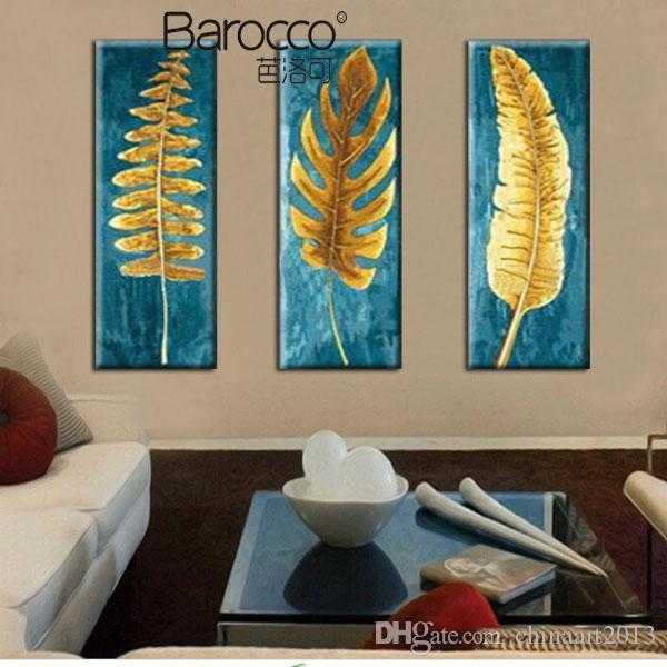 Золотой лист картина маслом 3 шт ручная роспись маслом на холсте современный простой стены искусства украшения для дома