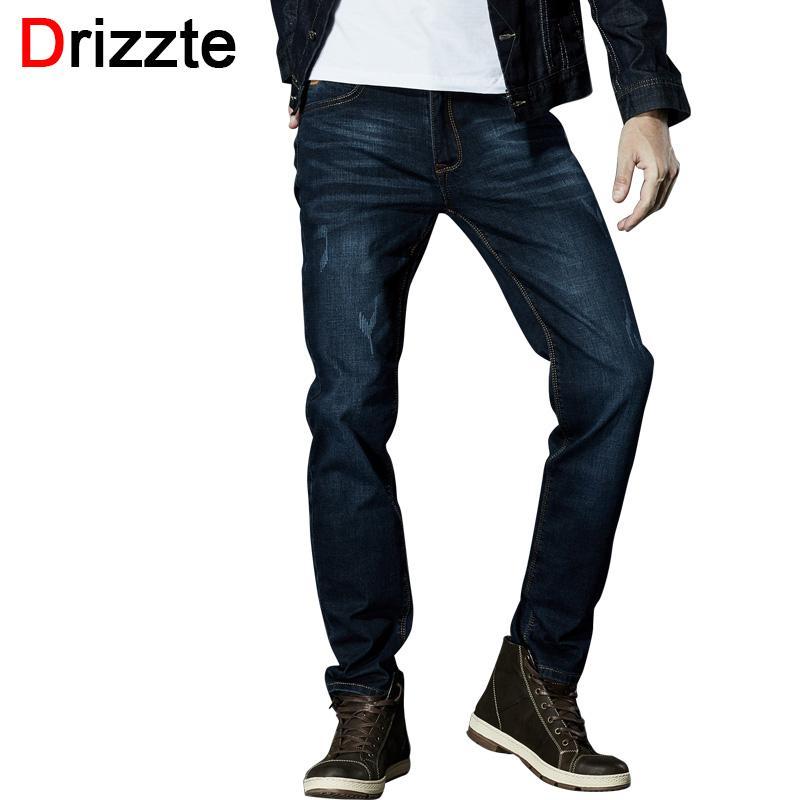ce0462ec6dd Wholesale-Drizzte Brand Men Stretch Denim Slim Jeans Black Blue ...