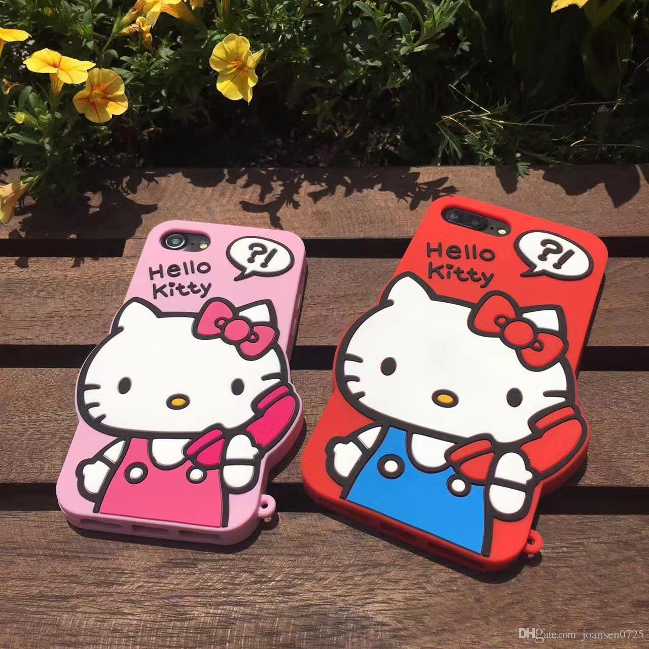 For iPhone 7 case 3D cute cartoon fashion Hello Kitty Soft silicone Phone Case back protective Cover shell For iPhone 6S 7 Plus 5S
