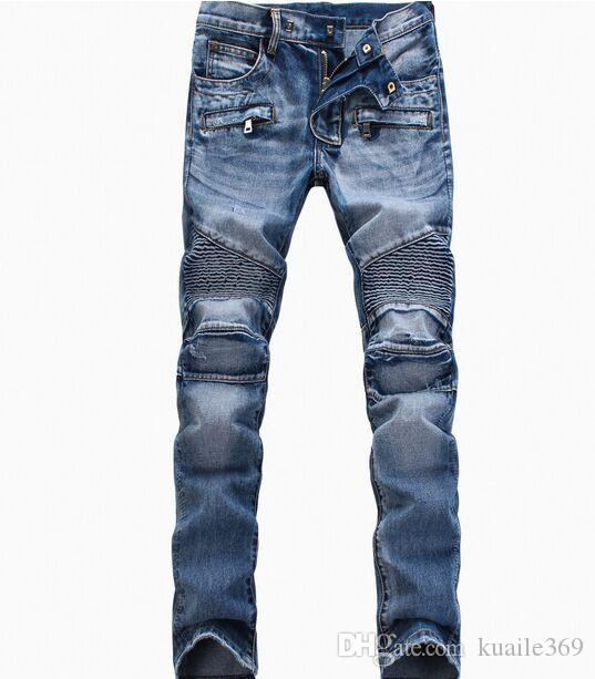 Fashion Men's foreign trade light blue / black jeans pants motorcycle biker men washing to do the old fold Trousers Casual Runway Denim pant