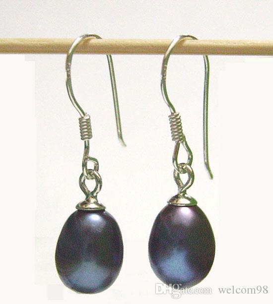 / svart pärla örhängen silver krok dangle ljuskrona för kvinna mode present hantverk smycken c0