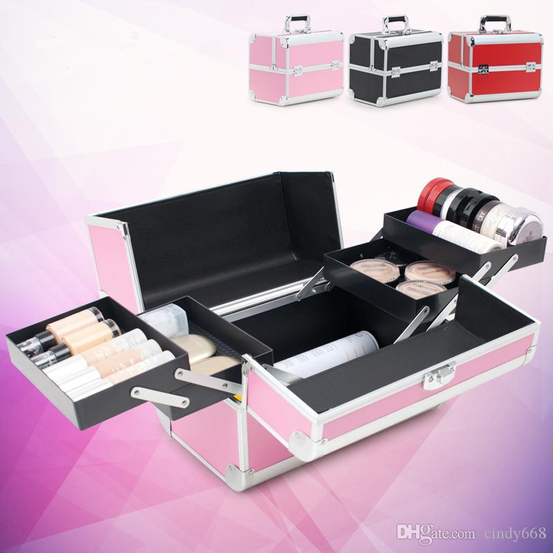 2018 Pink Black Red Makeup Box Large Capacity Cosmetic Boxes ...