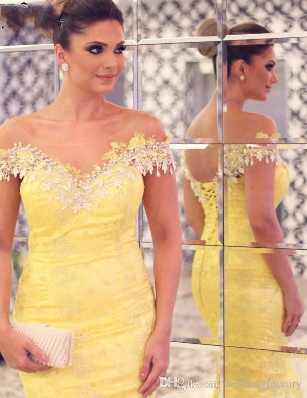 2017 Plus Size Evening Dressess Sheer Neck Off the Shoulder Crystals Lace Appliques Yellow Mermaid Long Dresses Elegant Prom Gowns Corset
