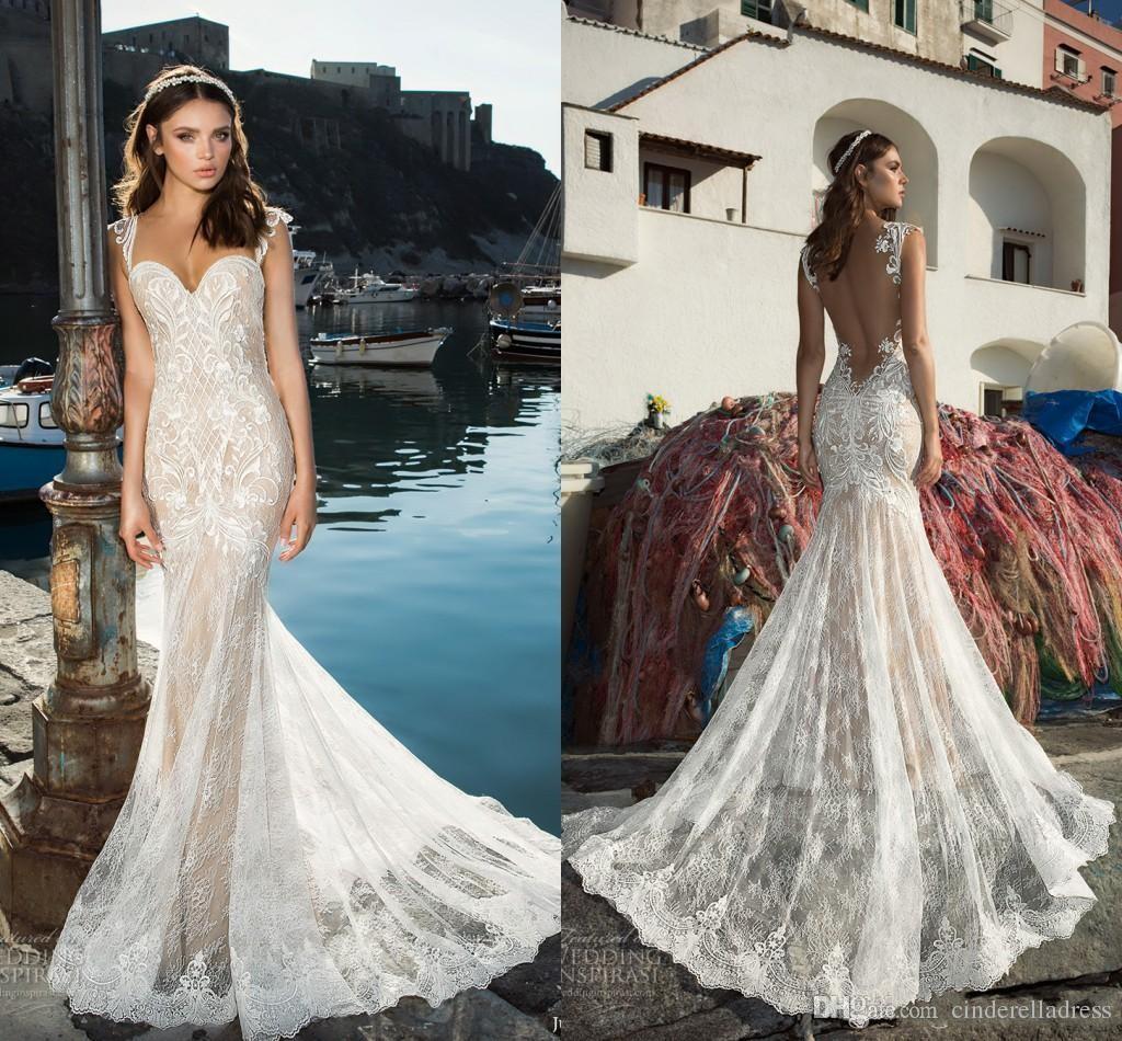 2020 Vintage Julie Vino Mermaid Wedding Dresses Lace Sexy Spaghetti Straps Illusion Back Champagne Lining Custom Made Bridal Gown ba4926