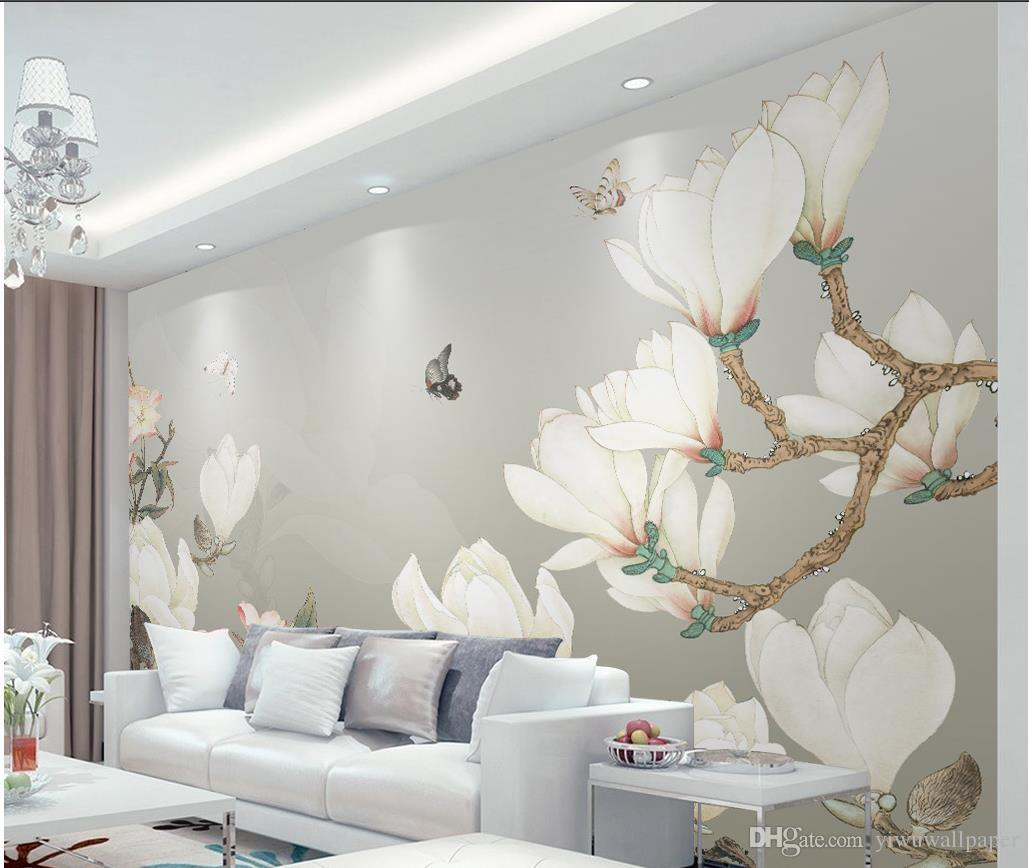 Hand Painted Chinese Magnolia Background Wall Decoration Painting Mural 3d Wallpaper 3d Wall Papers For Tv Backdrop