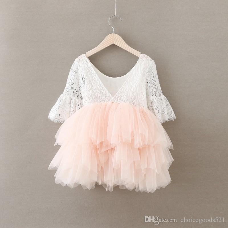 f13b71d3c 2019 Girl Dress Christmas Baby Girls Crochet Lace Tulle Dresses Kids ...