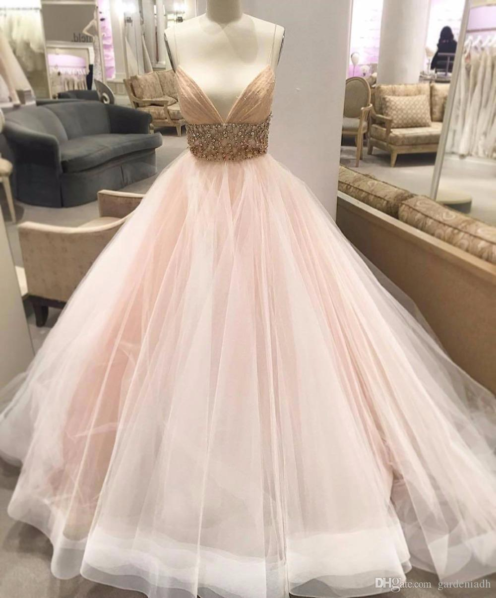 Drop Waist Wedding Dress Pink Blush Ball Gown 2017 Plunging Deep V ...