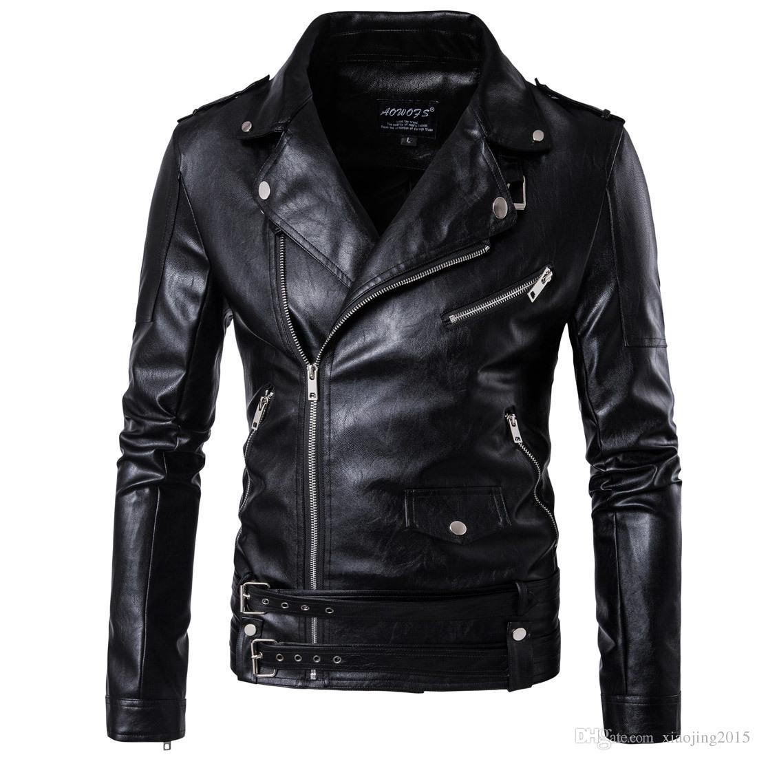 2017 Black Moto Leather Jackets For Men Short Cool Best Designer ...