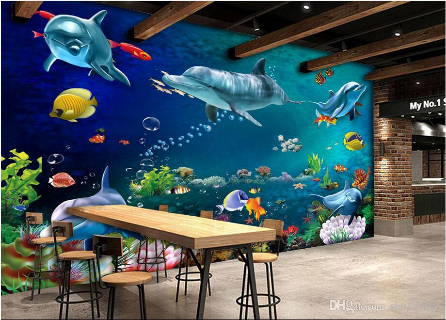 3D 벽지 사용자 정의 사진 벽화 바다 세계 돌고래 물고기 풍경 풍경 방 장식 그림 벽 3 차원 벽 벽화 벽지 3 차원