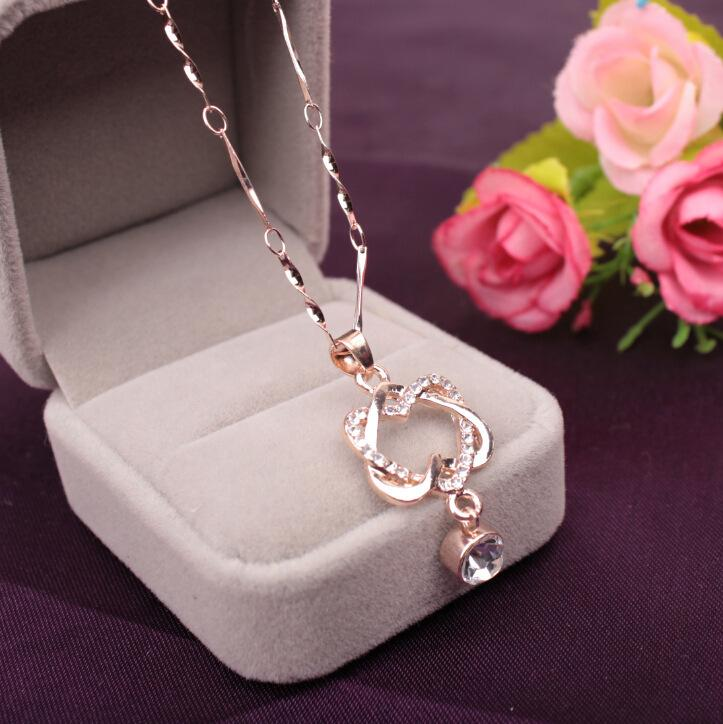 Heart to heart Rose Gold/silver Plated Stellux Crystals Heart Pendant Necklace for Lover Gift of Love Have mutual affinity