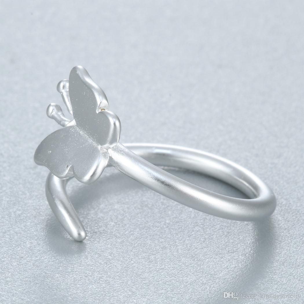 Real Pure 925 Sterling Silver Beautiful Butterfly Rings for Women Statement Jewelry Fashion Open Adjustable Finger Ring