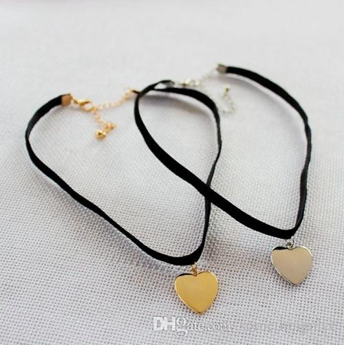 2016 New Simple Style Black Velvet Choker Silver Gold Plated Heart Shaped Pendant Necklace Alloy Clavicle Short Necklace Wholesale NICE