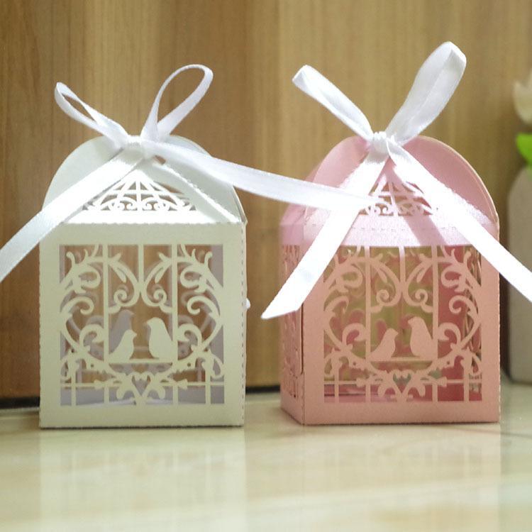 5 * 5 * 5Cm Laser Cut Bird Candy Boxes Dolci Box Baby Shower Regali Decorazioni di nozze Inviti di nozze Mariage