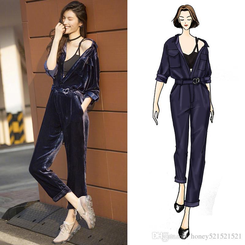 Frauen herbst neue mode stern gleichen stil umlegekragen langarm lange hosen samt overall body strampler hose smlxl
