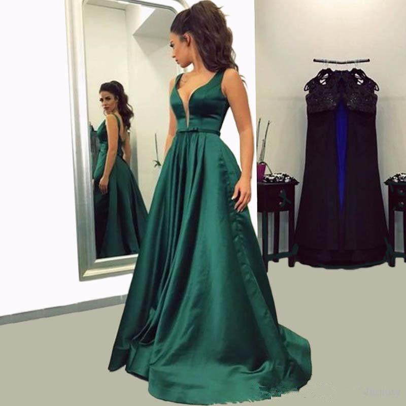 Hunter Green Prom Dresses 2018 Deep V Neck Satin Floor Length Long Dresses  Party Evening Wear Open Back Vestido De Festa Prom Dress Gowns Canada 2019  From ... 5f4d11504185