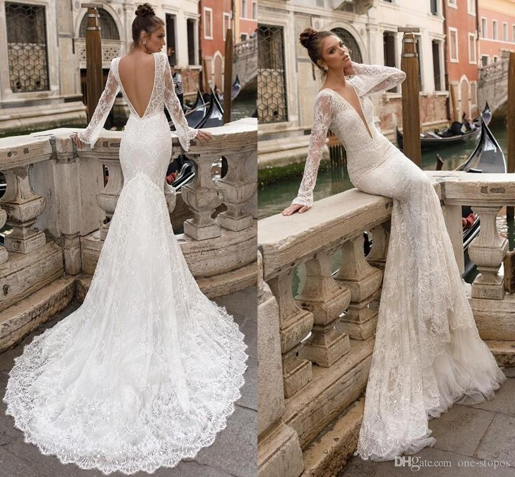 192864a90866 2018 Newest Berta Mermaid Lace Wedding Dresses Long Sleeves Sexy Deep V  Neck Backless Bridal Gowns Custom Made Court Train Vestido De Novia Wedding  Dresses ...