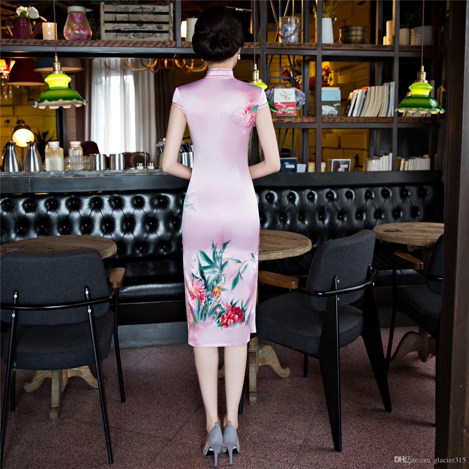 Shanghai Story Faux Silk Qipao dress Knee Length Cheongsam national trend chinese style dresses Pink Traditional Chinese Dress for wome