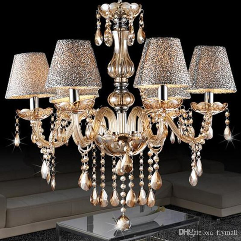 European modern minimalist living room lamp crystal chandelier european modern minimalist living room lamp crystal chandelier crystal candle lights dining room bedroom chandelier light with shade 6 heads pendant light aloadofball Gallery