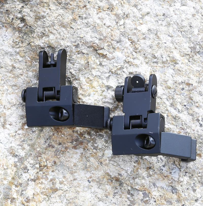 AR Front and Rear Flip up 45 Degree Rapid Transition Backup Iron Sight Set