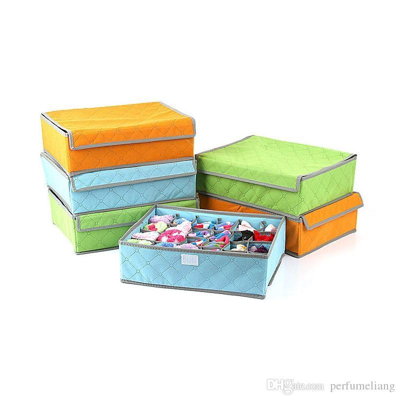 24 Grids Bamboo Charcoal Fiber Storage Box For Bra Socks 35*27*11 Folding Organizer Boxes Underwear Clothing ZA3572