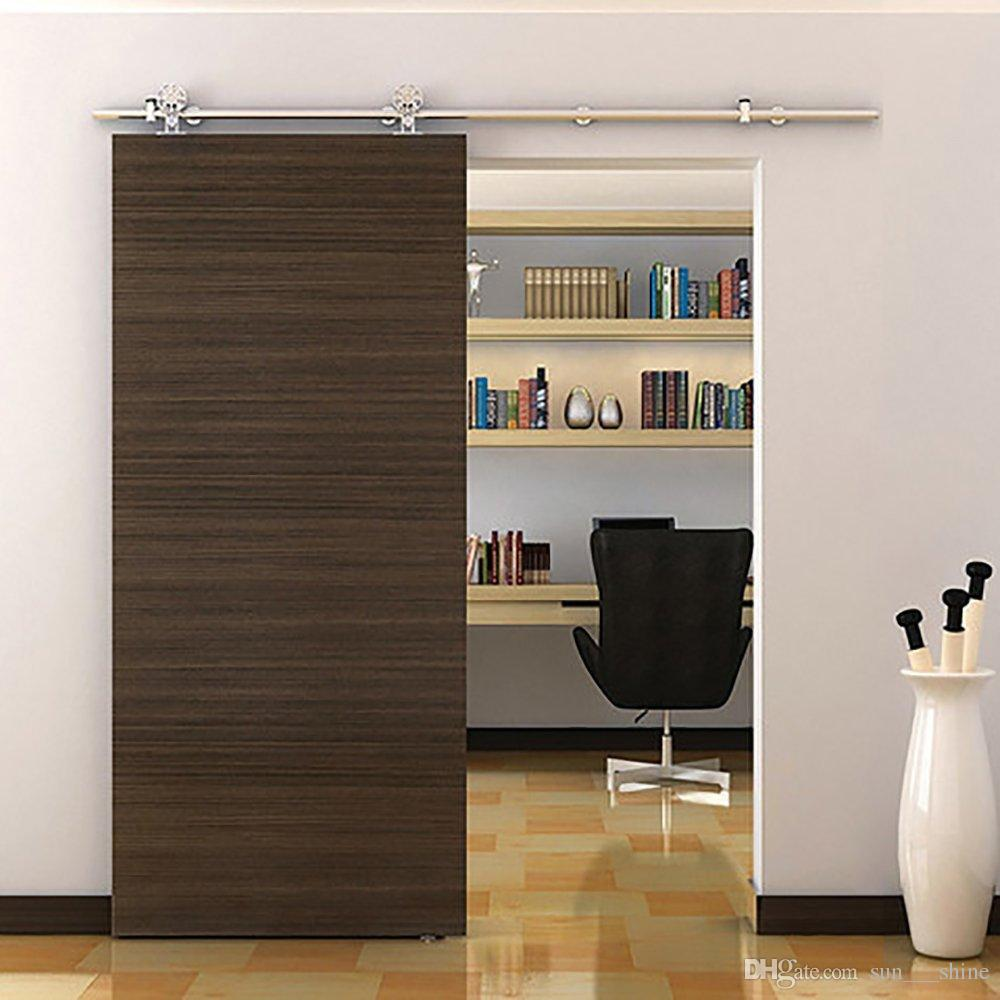 5 8ft American Heavy Indoor Stainless Steel Sliding Wood Door