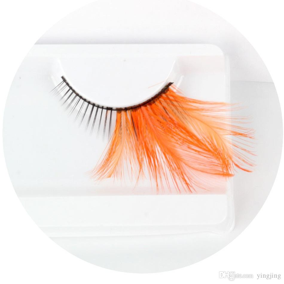 2017 New of Orange Feathers Mascara Makeup Party / Prty Exaggerated Feathers False Eyelash Makeup