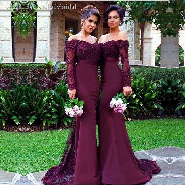 Vestidos de dama de honor color vino
