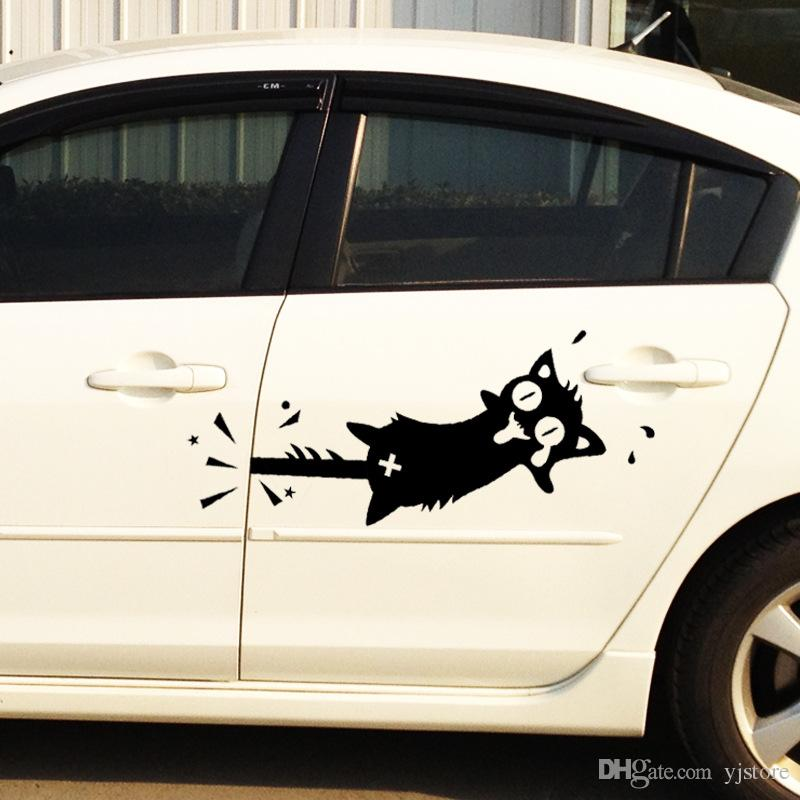 2018 creative cartoon cat car stickers funny car styling clip the tail cat car whole body auto door cover scratches side door sticker from yjstore