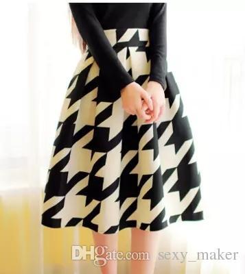 Taille haute Plissée Midi Jupe 4 Couleur Femmes Imprimé Floral Jupes Longues Jupes D'hiver Faldas largas Saia feminina