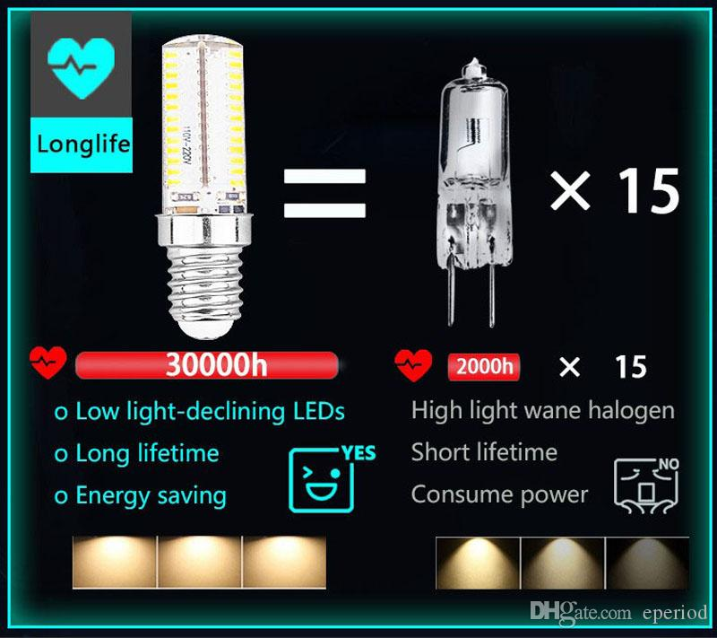 E14 Led bulb SMD3014 LED corn light AC220-240V White/warm white Energy-saving high brightness Crystal silicone dimmable Bulb Lamps
