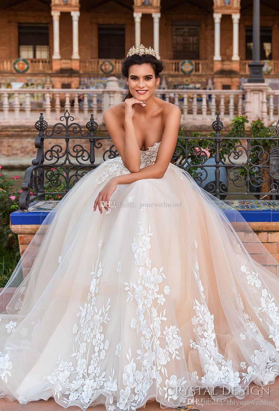Corset Princess Ball Gown Wedding Dresses 2017 Crystal Design Bridal ...