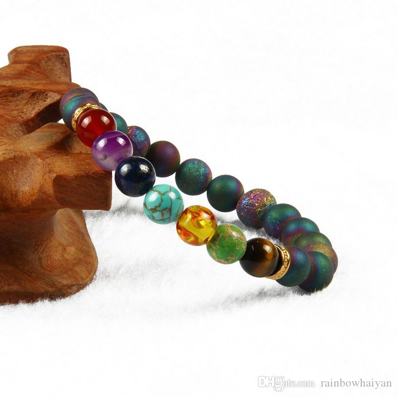 New Design 7 Chakra Bracelet Men Blue And Purple Scrubs Openings Laugh Beads Healing Gemstone Yoga Meditation Bracelets For Women