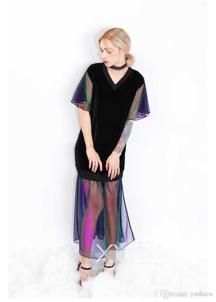 Original design Woman Spring & Summer Loose velvet Panelled Split dress Colorful muslin Sexy Long & short sleeves Trumpet sleeves Long Dress