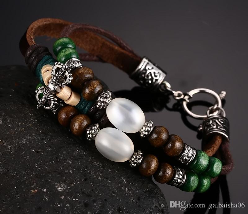 Meaeguet Design Leather Bracelet For Men Vintage Classical Style Beautiful Hand Chain Men Bangles&Bracelets BL-100