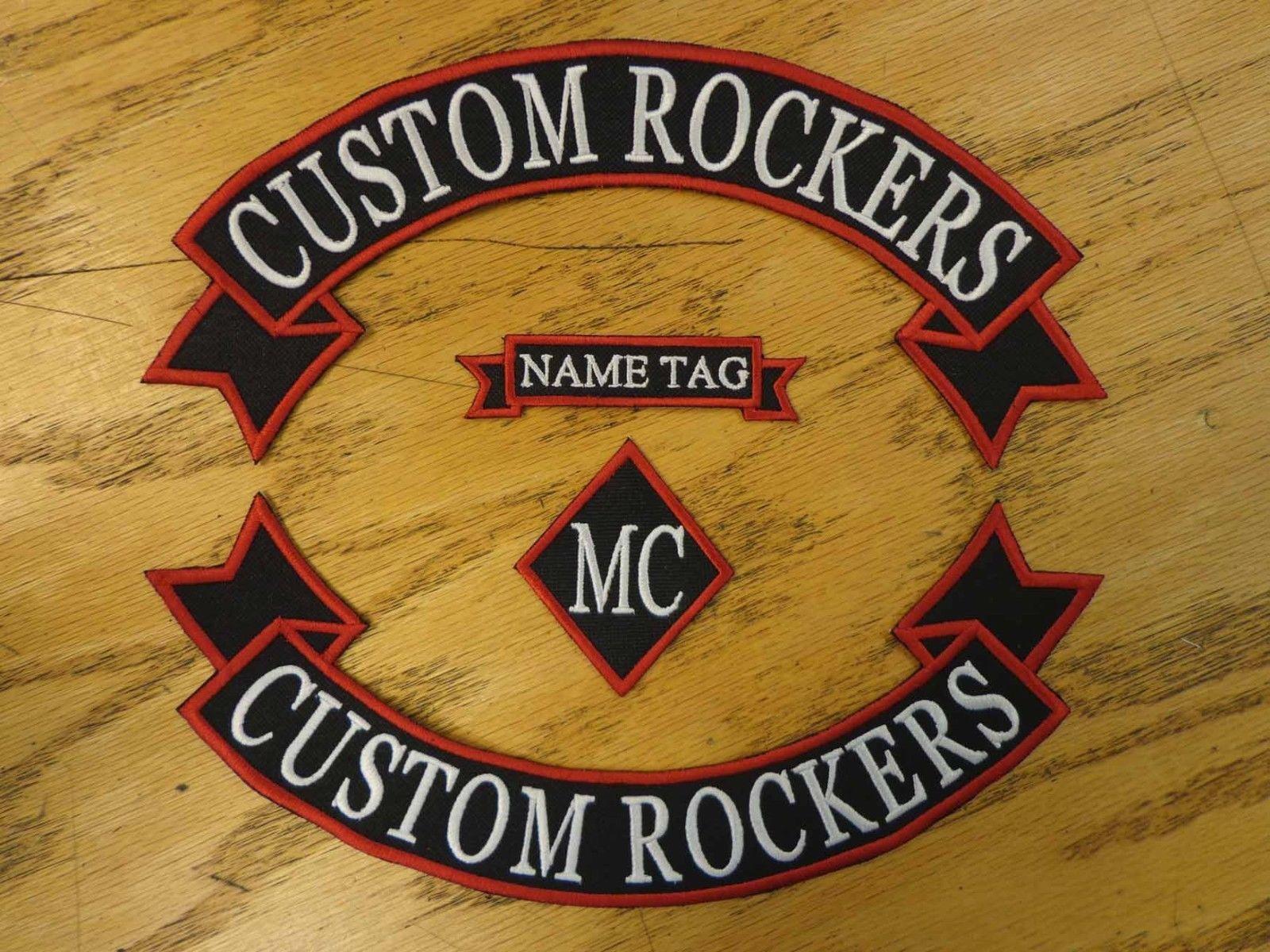 عرف الروك مطرز الشريط ، اسم MC مجموعة تصحيح الصدرية الخارج عن القانون السائق نادي MC خياطة على سترة الظهر أو معطف من الجلد
