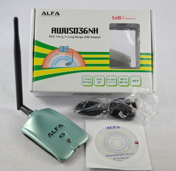 Wholesale- ALFA AWUS036H Network Ralink 3070L 2000MW ALFA Wireless WiFi USB  Adapter with 5dbi anenna 1Set