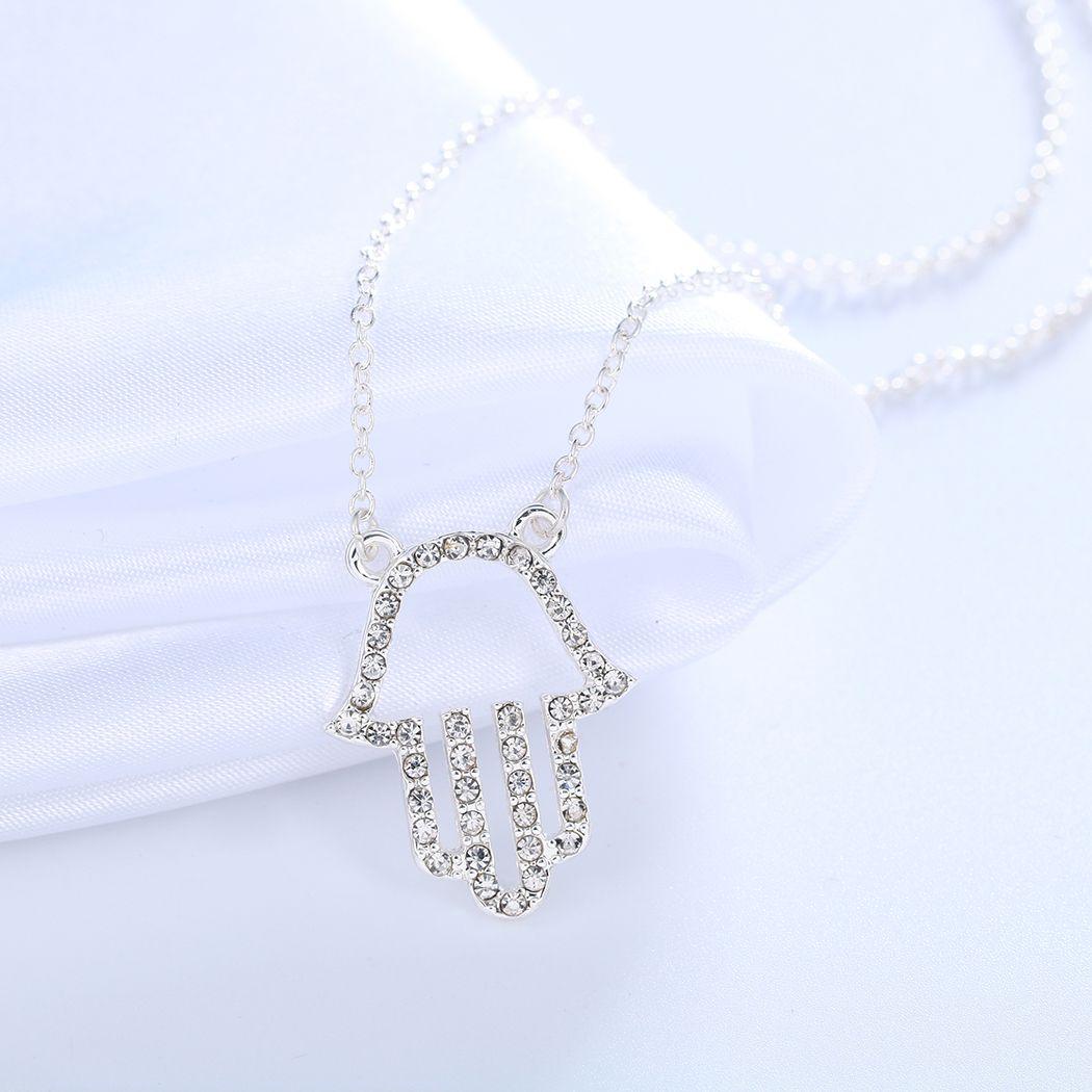 New Hand of Fatima Hamsa Friendship Crystal Pendant Necklaces Women Punk Brand Jewelry Birthday Gift for Girls Bijoux