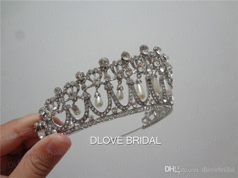 Shinny Princess Diana Same Pearl Crown Crystal Tiara Bridal Jewelry Wedding Party Hair Accessory with Real Image High Quality