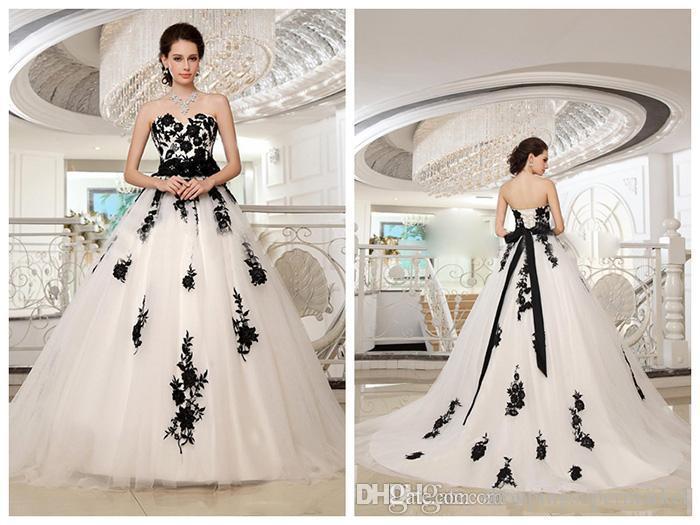 2017 New Long Tail Strapless A-Line Wedding Dresses Black Lace Applique Belt Activity Bride Wedding Dress Chapel Officially Wedding